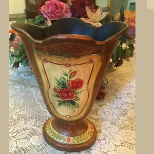 "Other - Large Georgian Style Vase 11"" T Floral Motif"
